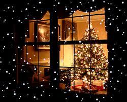Christmas Tree In Living Room Over Window Curtain Stock Photo Christmas Tree In Window