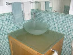 bathroom fascinating light green design ideas using round glass vessel sink including mosaic tile wall and