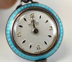lot 39 silver enamel pendant watch bucherer