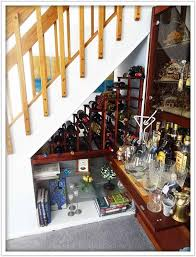 straight flight staircase wine cellar