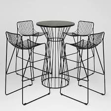 wire bar table and stools black for hire