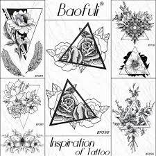 3d черный геометрический эскиз роза цветок временная татуировка