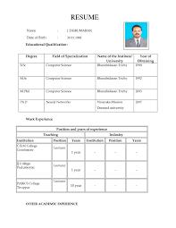 Model Resume Format For Teachers Teaching Cv Examples Manqal