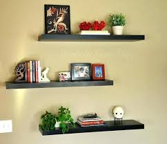 wall decor decoration floating shelves wood brown colored three piece rectangular primary color floa living room splendid wall shelves