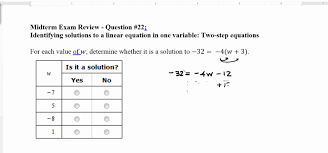 problem 22 identifying solutions to a linear equation in one variable two step equations