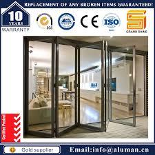 china powder coated tinted glass aluminium bi folding door with soundproof and waterproof china door aluminum door