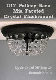 upgrade a standard builder grade flushmount ceiling light with crystals to look like a faceted pottery