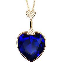 swarovski elements blue austria crystal 14k gold plated heart shape long pendant necklace