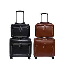 letrend business pu leather rolling luggage sets spinner women cabin suitcase wheels high quality trolley travel bags on wheel bags suitcase for kids