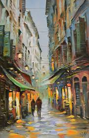 oil painting rain in old town nice provence france