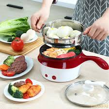 CẮM 2 CHẤU] Nồi lẩu điện nồi hấp điện mini 2tầng chống dính đa năng 18cm  Tặng xửng hấp, Ca nấu mì nấu lẩu