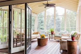 floor to ceiling windows allow to see even large trees from top to bottom