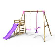 rebo wooden swing set plus deck slide