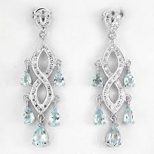 long chandelier earrings with sky blue topaz and pink diamonds of 28 07 ct small diamonds