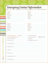 emergency contact template 6 emergency contact template procedure template sample