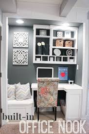 Home office nook Interior Office Nook Custom Builtin For Basement House Of Rose Builtin Office Nook basement Project