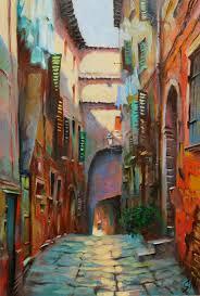 zagorolo italian street scene cityscape oil painting