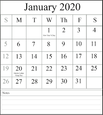 Free January 2020 Printable Calendar Template With Holidays