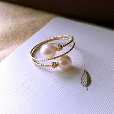 <b>Sinya Au750 18k</b> gold Elastic Ring with natural Freshwater pearl for ...