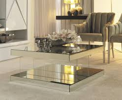 silver glass coffee table mirrored