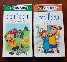 lot of 2 caillou vhs dr caillou caillou s family fun tested