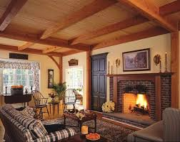 paint colors for living room with red brick fireplace and wood ceiling design