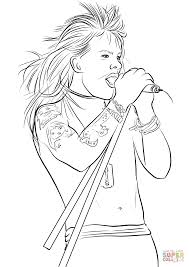 Axl Rose From Guns N Roses Coloring Page Free Printable Coloring Pages