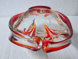 vintage murano glass ashtray free form basket 7 5 8th tall