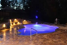 Inground pools at night Outside 86 Cannon Pools Cannon Pools And Spas Photo Gallery