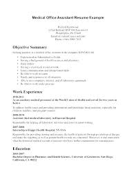 Objective For Office Assistant New Resume Examples For Medical Office Specialist With Medical Office
