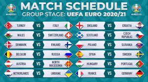 MATCH SCHEDULE: UEFA EURO 2020/2021 - GROUP STAGE FIXTURES - YouTube