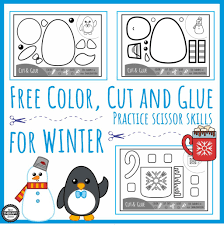 Cut and paste activities often involve craft projects that require students to use scissors and glue. Color Cut Glue Scissor Practice For Winter Your Therapy Source