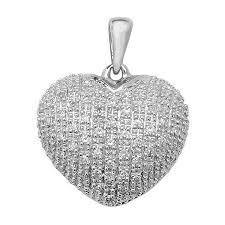 pave set diamond heart pendant in 9ct white gold 0 25ct