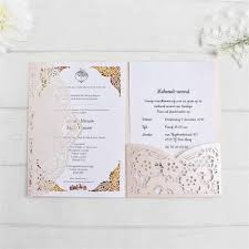 Elegant Invitations Wedding Pink Laser Cutting With Rsvp Insert Belly Band Pocketfold Birthday Card Personalized Printing