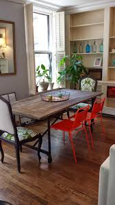 Dining Room : Minimalist Dining Room Design With Restoration Hardware  Dining Table And Red Dining Chiar Also White Shelves Make Your Dining Room  Awesome and ...