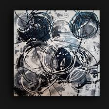 acrylic painting abstract white noise black and white art original painting fine art on gallery canvas 24x24x1 5 by ora birenbaum