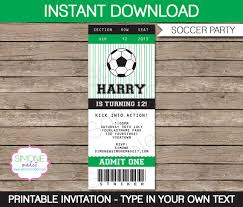 Invitation Ticket Template Soccer Ticket Invitation Template Birthday Party INSTANT 96