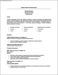 Student Internship Resume Template Free Samples Examples