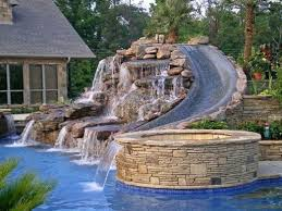 beautiful pools with slides. Simple Beautiful Beautiful Pool Slide And Jacuzzidream Back Yard For Pools With Slides M