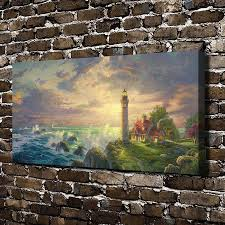 h1116 thomas kinkade the guiding light scenery hd canvas print home decoration living room bedroom bedroom lighting guide