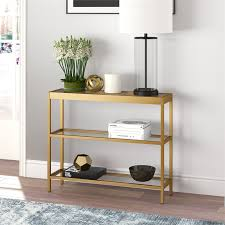 modern console sofa table 3 tier open