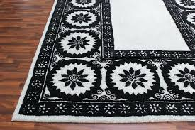 wheels black and white 5 x 8 fl style wool area rug persian rugs handmade