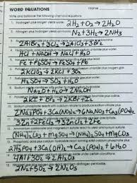 word equations worksheet as well 2 homework read pages reading chemical