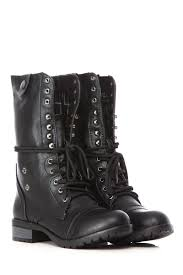 black faux leather fold over plaid print chunky combat boots