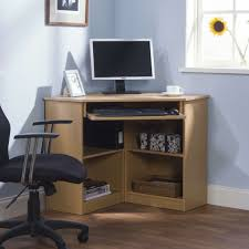 Furniture:Contemporary Minimalist Brown Wolid Wood Small Corner Computer  Desk Inspiration With Comfortable Black Laminated