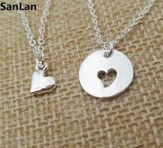 women necklace classic about 45cm 10pcs love new mom fashion jewelry silver plated mother daughter heart