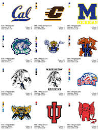 University Logo Embroidery Designs College Collegiate Embroidery Designs Logos