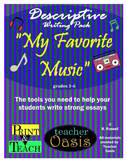descriptive writing prompt my favorite restaurant by teacher oasis product thumbnail descriptive writing prompt my favorite music