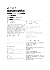How To Write An Artist Resume A For Art Internship Pics Skills