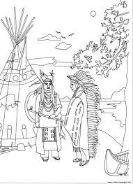 Pilgrim And Native American Coloring Pages Design Mandala Pacific